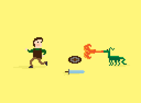 sword fight: Pixel art warrior running away from the little dragon that breathe fire threw down his shield and sword