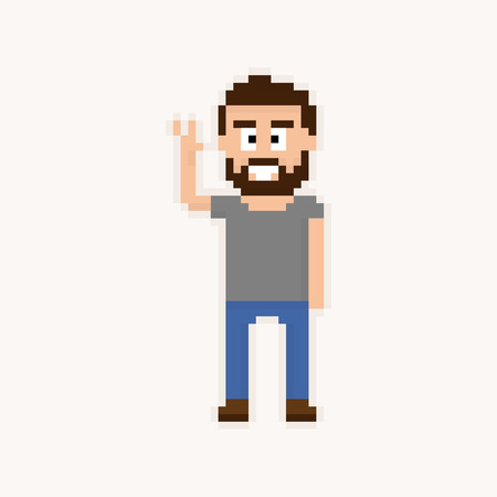 Pixel art happy bearded guy with arm raised