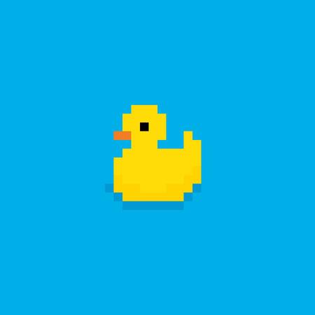 pato: Pixel art ba�o amarillo pato aislado en fondo azul