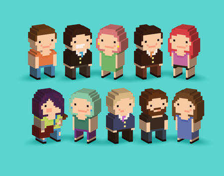 Set of 3d isometric pixel art cartoon characters with office people, guy with guitar, bearded guy and other people Illustration