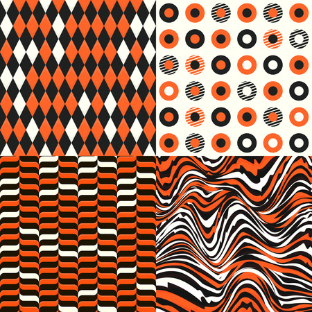 white wave: Set of seamless halloween colored patterns Illustration