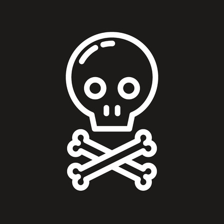 pixel perfect: Outline pixel perfect skull icon on dark background