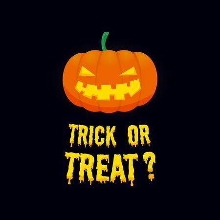 treats: Vector de fondo con calabaza de Halloween sonriendo miedo y truco o de texto