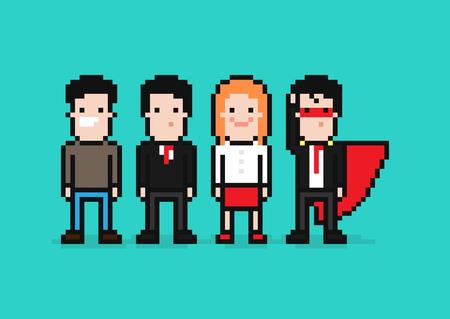 Cuatro Personajes Pixel Art, Hombre Y Mujer, Héroe En Traje De ...