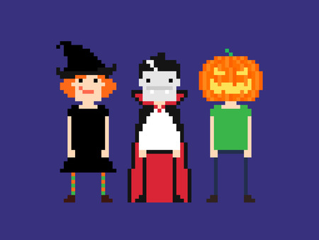 8 bit: Pixel art characters in halloween outfit. Witch, vampire and guy with pumpkin head