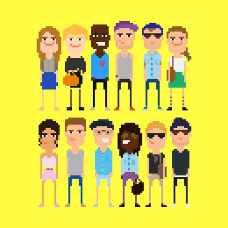 personas reunidas: Personas píxel. Diferentes personajes de píxeles de 8 bits, masculinos y femeninos, aisladas sobre fondo amarillo