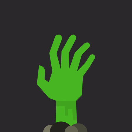 arisen: Green undead zombie hand raised up from the ground, isolated on dark background Illustration