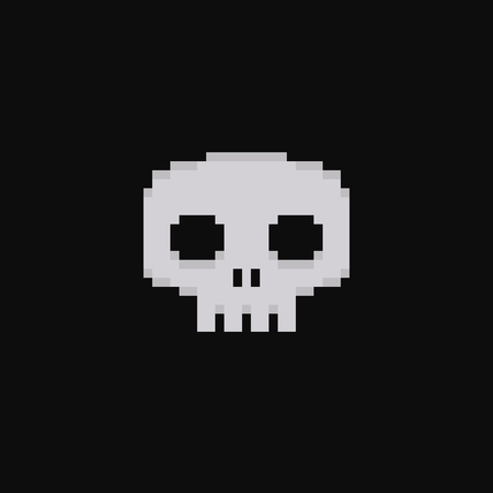 skeleton cartoon: Pixel art 8-bit skull isolated on dark background
