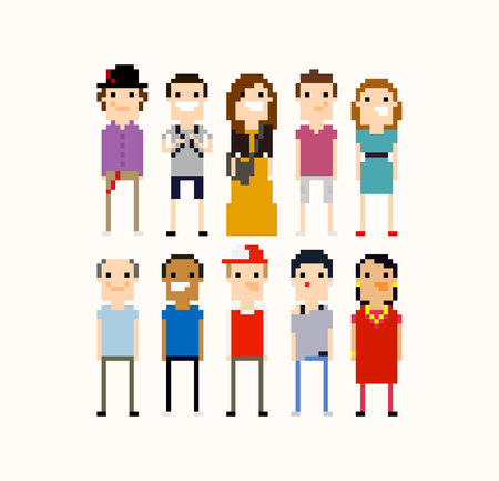 mexican boys: Pixel people, different 8-bit characters isolated on light background Illustration