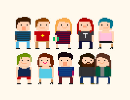 8bit: Set of pixel art characters with different guys and ladies Illustration