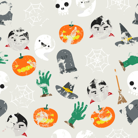 halloween pattern: Seamless background with halloween pattern and grunge effect