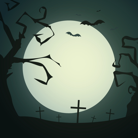 gnarled: Spooky background with dead gnarled trees, crosses, bats and full moon Illustration