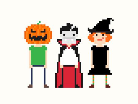 bruja: Personajes del arte del pixel en traje de halloween. Bruja, vampiro y hombre con cabeza de calabaza