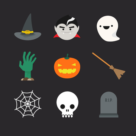 undead: Flat halloween icons. Witch hat and broom, vampire, ghost, undead hand, pumpkin lantern, spider web, skull and tombstone Illustration