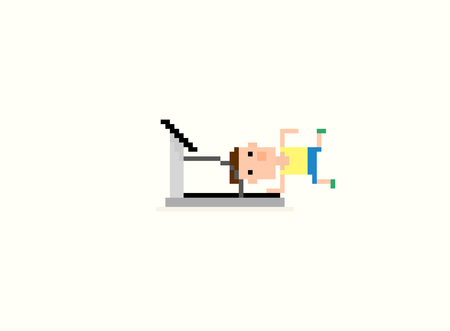 tripped: Pixel art character falling on the treadmill