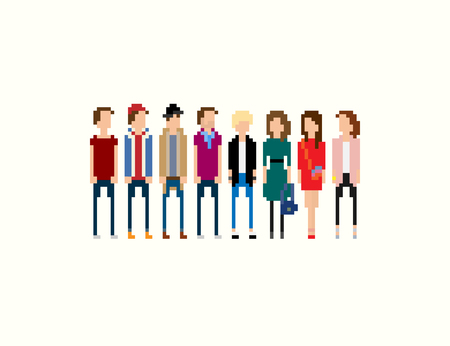 8bit: Pixel people. Different 8-bit pixel characters, male and female, isolated on light background