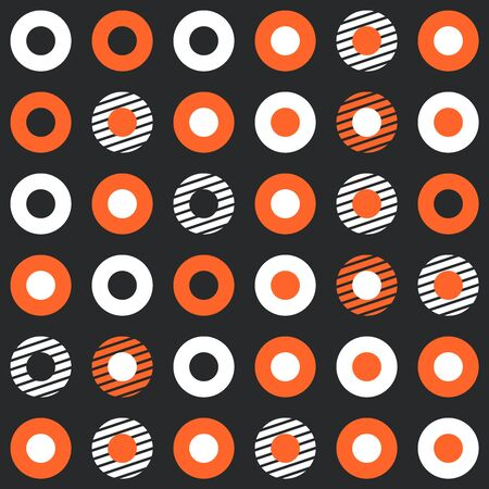 retro circles: Abstract retro background with many white and red circles Illustration