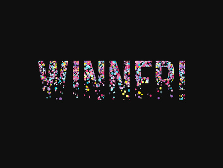 Vector background with word winner consist of falling confetti