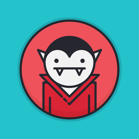 cartoon vampire: Colored circle icon with vampire character Illustration
