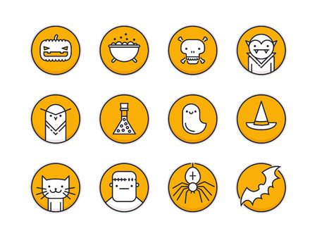 pixel perfect: Set of twelve pixel perfect outline circle icons with halloween traditional signs and symbols
