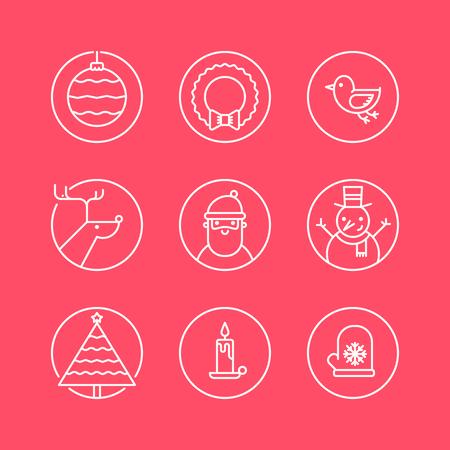 muerdago: Conjunto de iconos de c�rculo contorno con signos y s�mbolos de la Navidad tradicionales. Santa, reno, �rbol de conexiones, el mu�rdago, el mu�eco de nieve