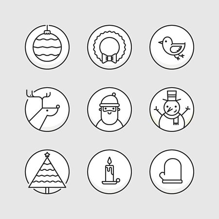 signs and symbols: Set of outline circle icons with traditional christmas signs and symbols. Santa, reindeer, X-Mas tree, mistletoe, snowman Illustration