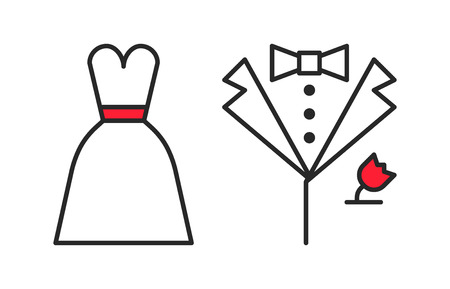 black wedding couple: Wedding dress and grooms suit, outline icons Illustration