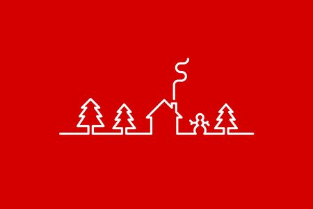red and white: Drawn with one line fir trees, house and snowman. White line on red background Illustration