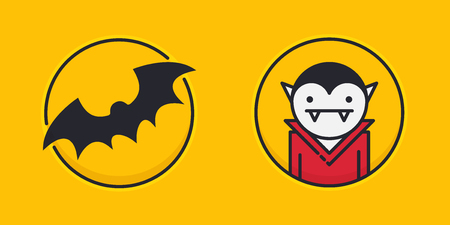 Two colored outline circle icons with bat silhouette and vampire isolated on yellow background Illustration