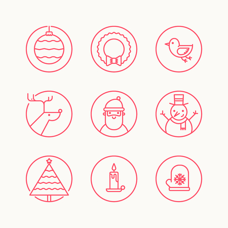 Set of outline circle icons with traditional christmas signs and symbols. Santa, reindeer, X-Mas tree, mistletoe, snowman Illustration