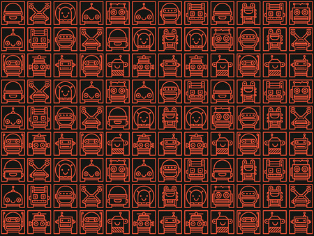droid: Background with many robot faces
