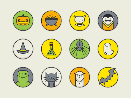 cartoon spider: Set of twelve pixel perfect colored outline circle icons with halloween traditional signs and symbols Illustration