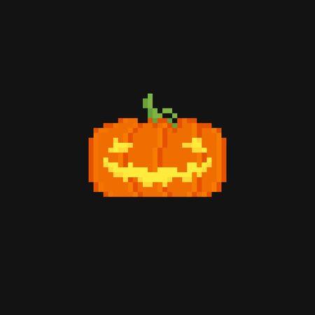 treats: Dark background with two pixel art pumpkins Illustration