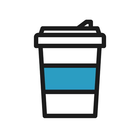 Icon with to go coffee cup with blue holder Illustration