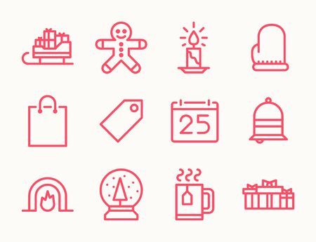 christmas cookie: Set of twelve outline Christmas icons with sleigh, cookie, snow globe, mitten, cup, gifts, shopping bag and other symbols