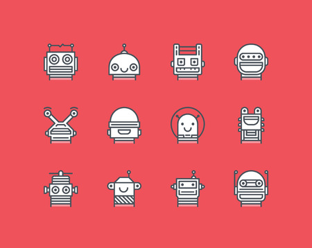 science icons: Set of outline icons with different robot faces Illustration