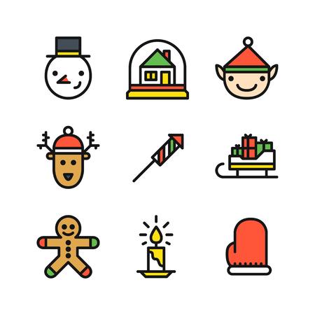 galleta de jengibre: Conjunto de nueve iconos de color de contorno para la Navidad con la cabeza muñeco de nieve, bola de nieve con la casa, la cabeza del duende y ciervos, cohete, trineo con los regalos, el hombre de jengibre galleta, velas y manopla