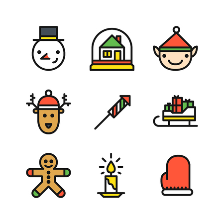 Set of nine colored outline icons for Christmas with snowman head, snow globe with house, elf and deer head, rocket, sleigh with gifts, ginger cookie man, candle and mitten