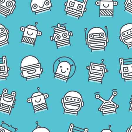 userpic: Seamless background with outline icons of robot faces Illustration