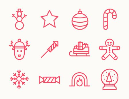 funky: Set of twelve outline Christmas icons with snowman, deer, cookie guy, fireplace and other symbols