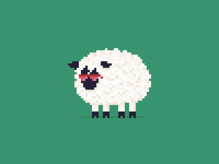 cheerful cartoon: Pixel art sheep in pink sunglasses isolated on green background