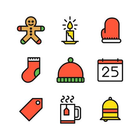 galleta de jengibre: Conjunto de nueve iconos de esquema de colores de Navidad con galletas de jengibre, vela, manopla, calcetín, sombrero, calendario, etiqueta, la taza con vapor de agua y la campana