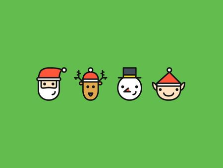 weihnachtsmann lustig: Set of four colored outline icons with Christmas characters: Santa, Reindeer, Snowman and Elf