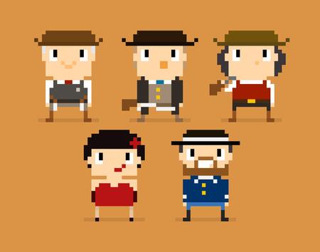 gunfighter: Pixel art characters, wild west, sheriff, soldier, cabaret girl Illustration