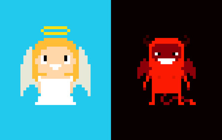 hell: Pixel art angel and demon, heaven and hell, characters isolated on blue and dark background Illustration