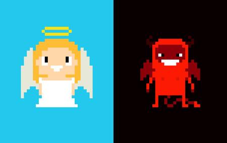 demonio: Pixel arte del ángel y del demonio, el cielo y el infierno, caracteres aislados sobre fondo azul oscuro y