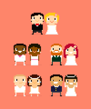 skin color: Pixel art characters, five wedding couples, wife and husband, bride and groom with different hair and skin color