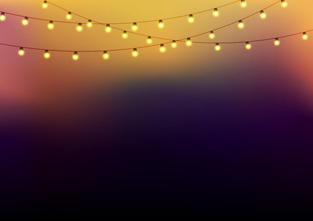 string: Background with garlands at the upper side, strings with glowing lights