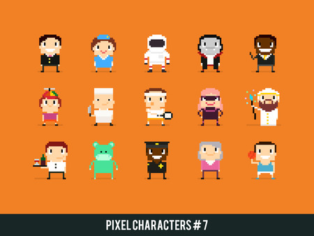 game icon: Set of pixel art characters with different gender, skin color, occupation and posture