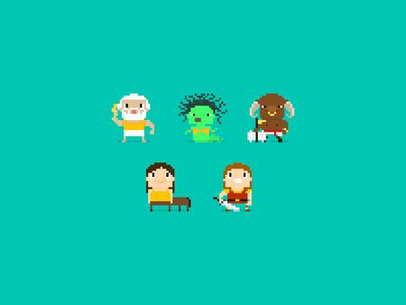 arte greca: Set di diversi personaggi pixel art, personaggi mitologia greca, gli dei e le bestie